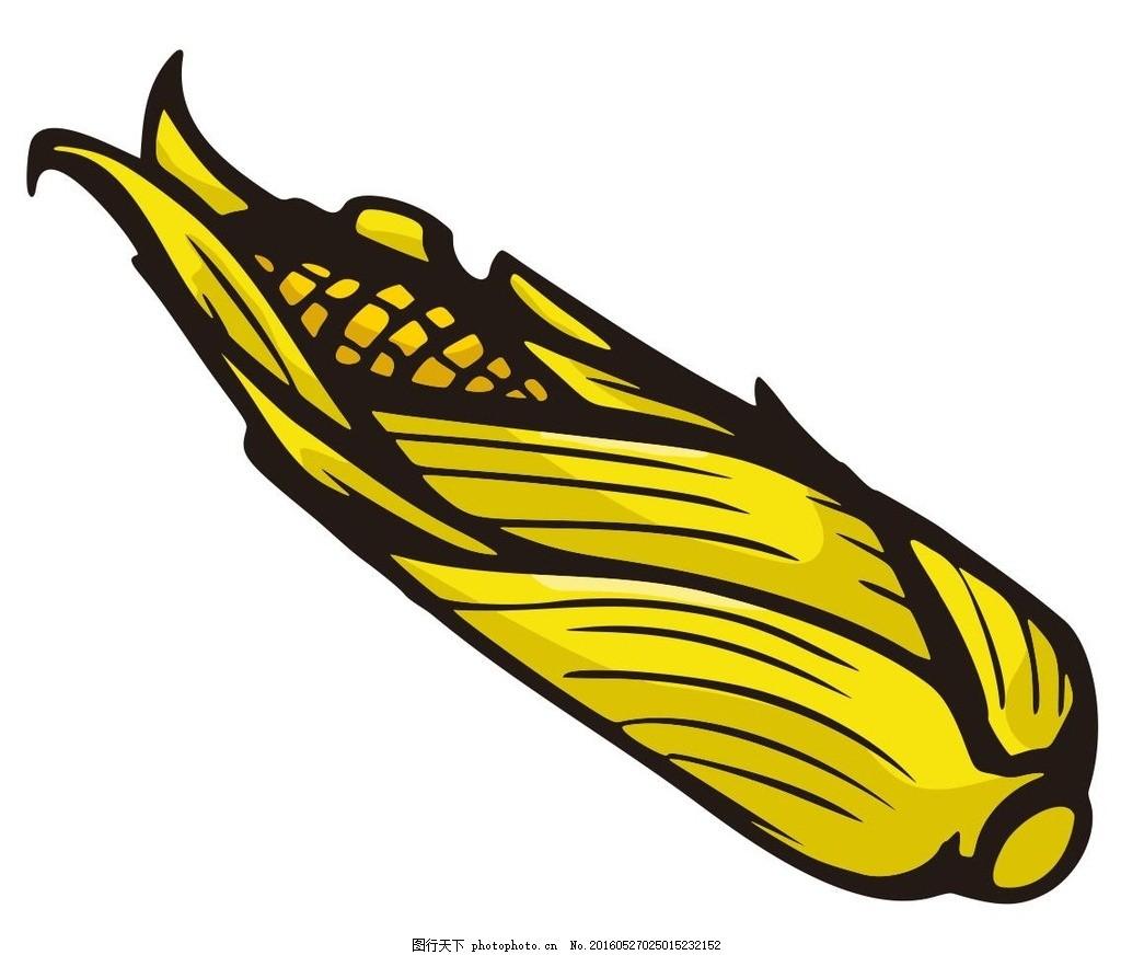 玉米 农作物 蔬菜 水果 简笔画 线条 线描 简画 黑白画 卡通 手绘