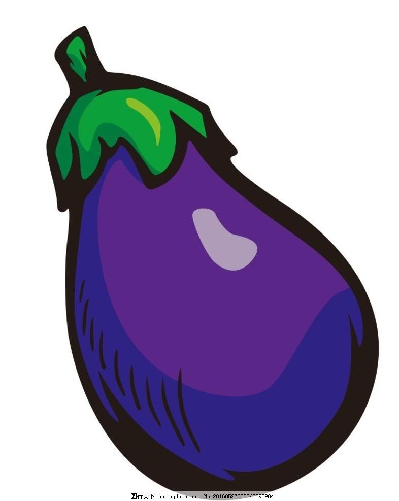 茄子 蔬菜 水果 简笔画 线条 线描 简画 黑白画 卡通 手绘 标志图标