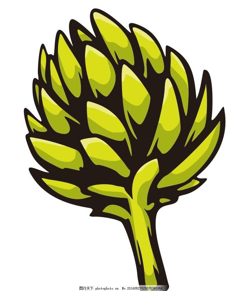 植物 蔬菜 水果 简笔画 线条 线描 简画 黑白画 卡通 手绘 标志图标