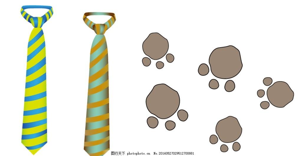 卡通动物脚印 领带