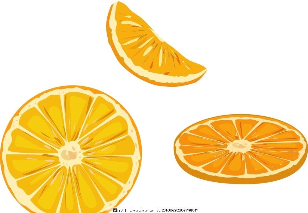 水果主题 橙子切片 手绘水果 水彩水果 矢量 水果 水果素材 新鲜水果