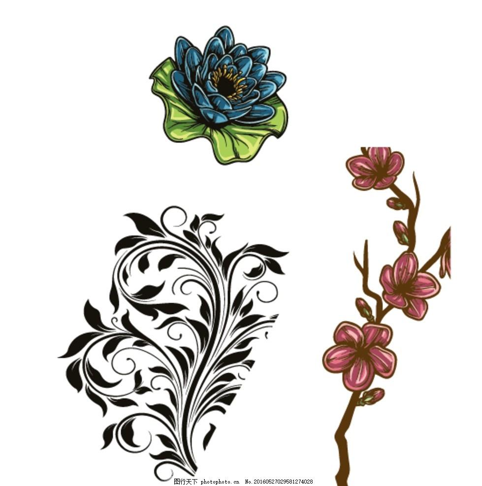 梅花 矢量梅花 梅花素材 手绘梅花 古典 花纹 花边 花纹花边 黑白花纹