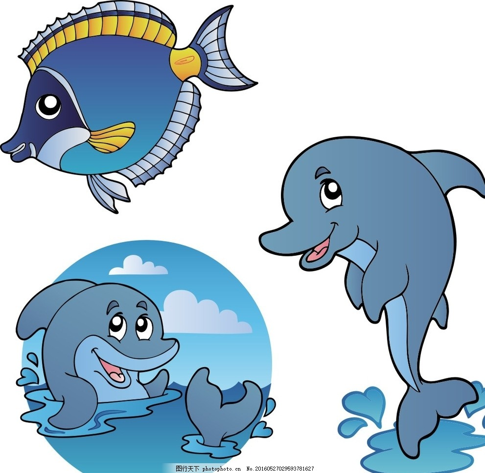 矢量海洋鱼类 海豚 卡通海豚 矢量海豚 海豚素材 手绘海豚 设计 广告