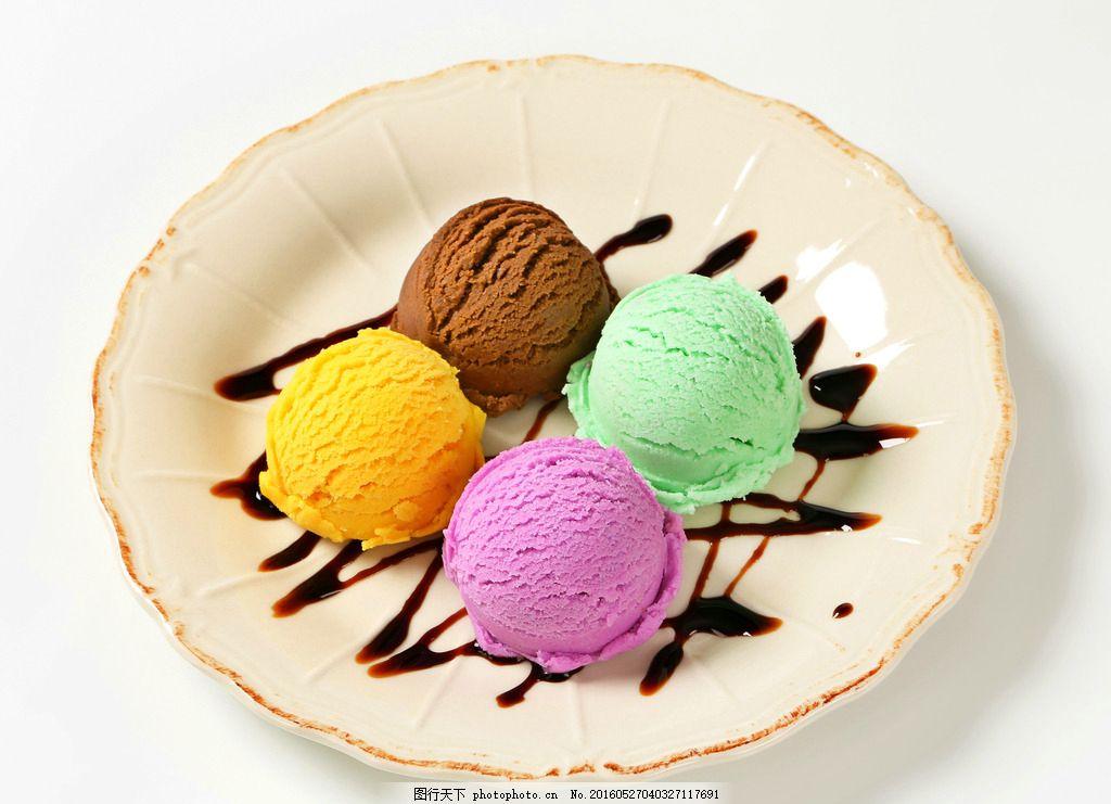 冰淇淋 彩色冰淇淋 甜点 甜品 盘子 冰淇淋球 图片素材 摄影 餐饮美食
