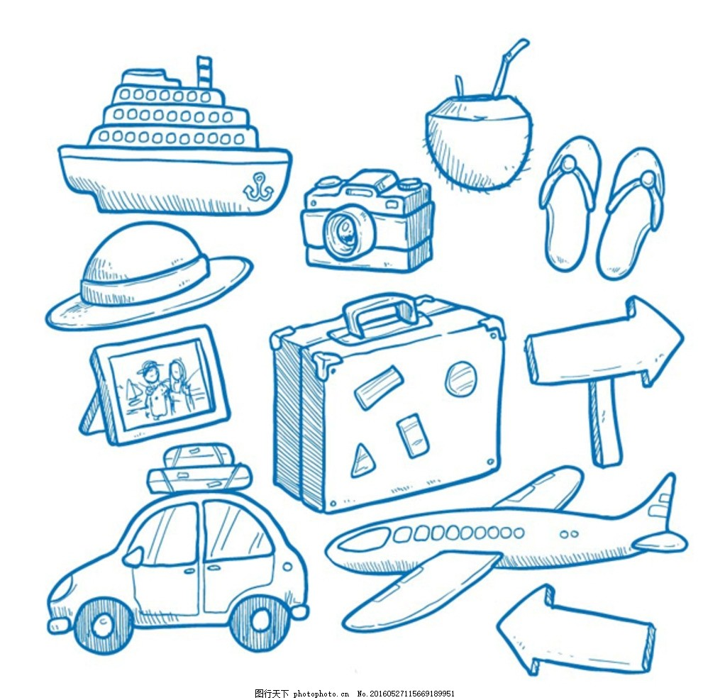 手绘生活交通矢量稿 交通工具 汽车 飞机 路牌 轮船 鞋子 生活用品