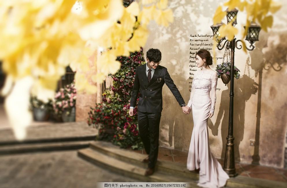 枫叶婚纱摄影 枫叶 路灯 欧式 韩式 中式 双人 结婚照 婚纱摄影 婚照