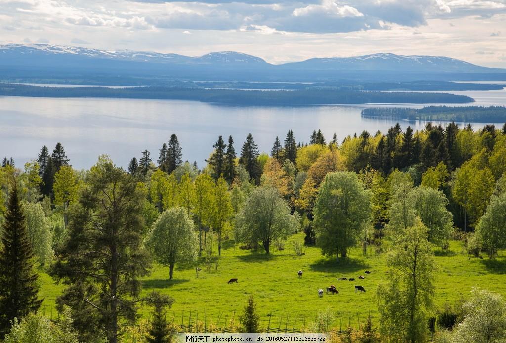绿色自然风景图片大全素材下载 自然风景 山峰 远山 湖泊 树木