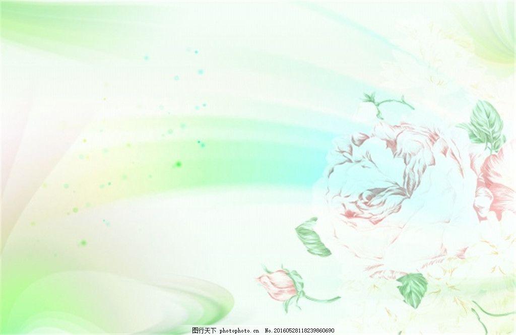 玫瑰花装饰底纹背景图,桌面背景 淡绿色 清新 小清新