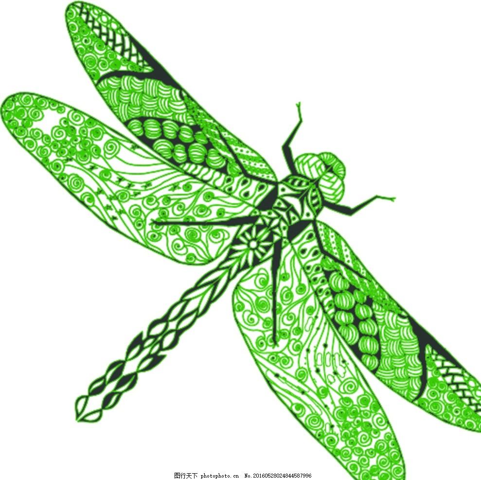 蜻蜓 线条 昆虫 荷 鸟 图案设计 设计 生物世界 昆虫 ai