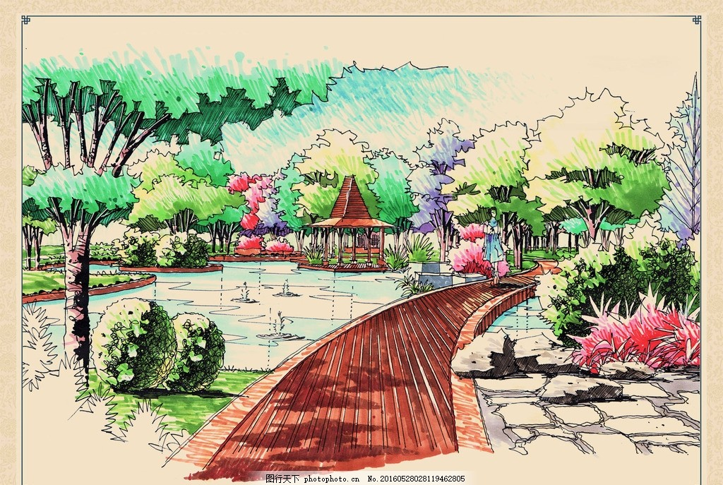 公园手绘景观设计效果图,步道 亭子 石头 喷泉 水池