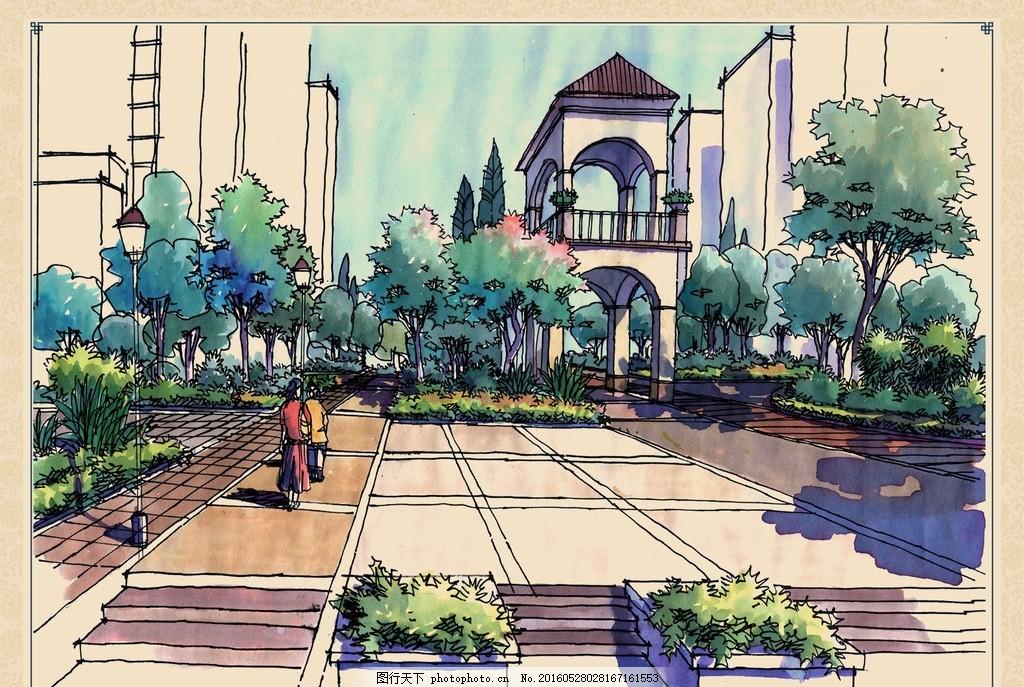 公园景观手绘效果图 步道 亭子 喷泉 树木 广场 植物 马克 画风