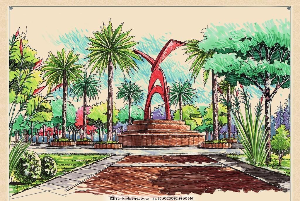 广场雕塑手绘效果图