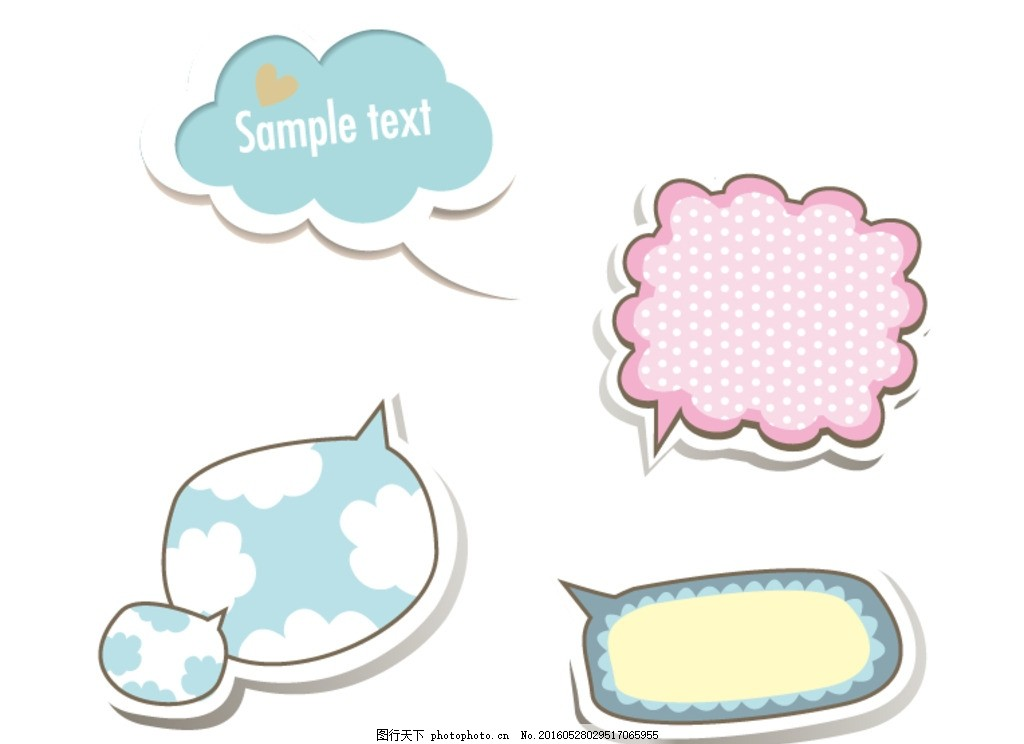 卡通 儿童标签元素 卡通标签 可爱 彩色对话框 标签 动感 形状 语言框