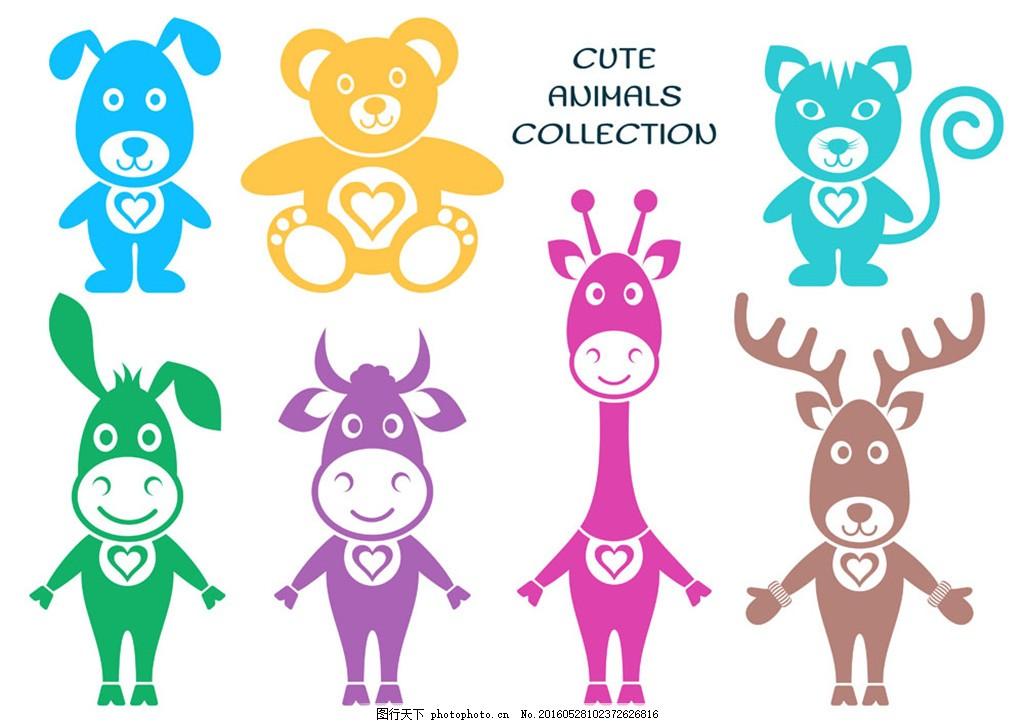 彩色动物按钮图标 扁平化图标 大象 黄色 卡通动物 可爱动物 企鹅