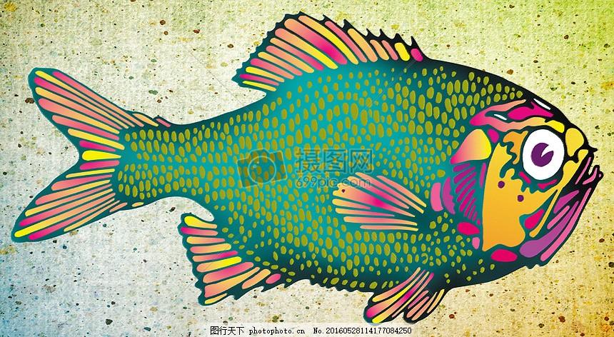 在画中的鲤鱼 颜色 艺术 绘画 粗糙 画布 绘图 贴画     红色 jpg