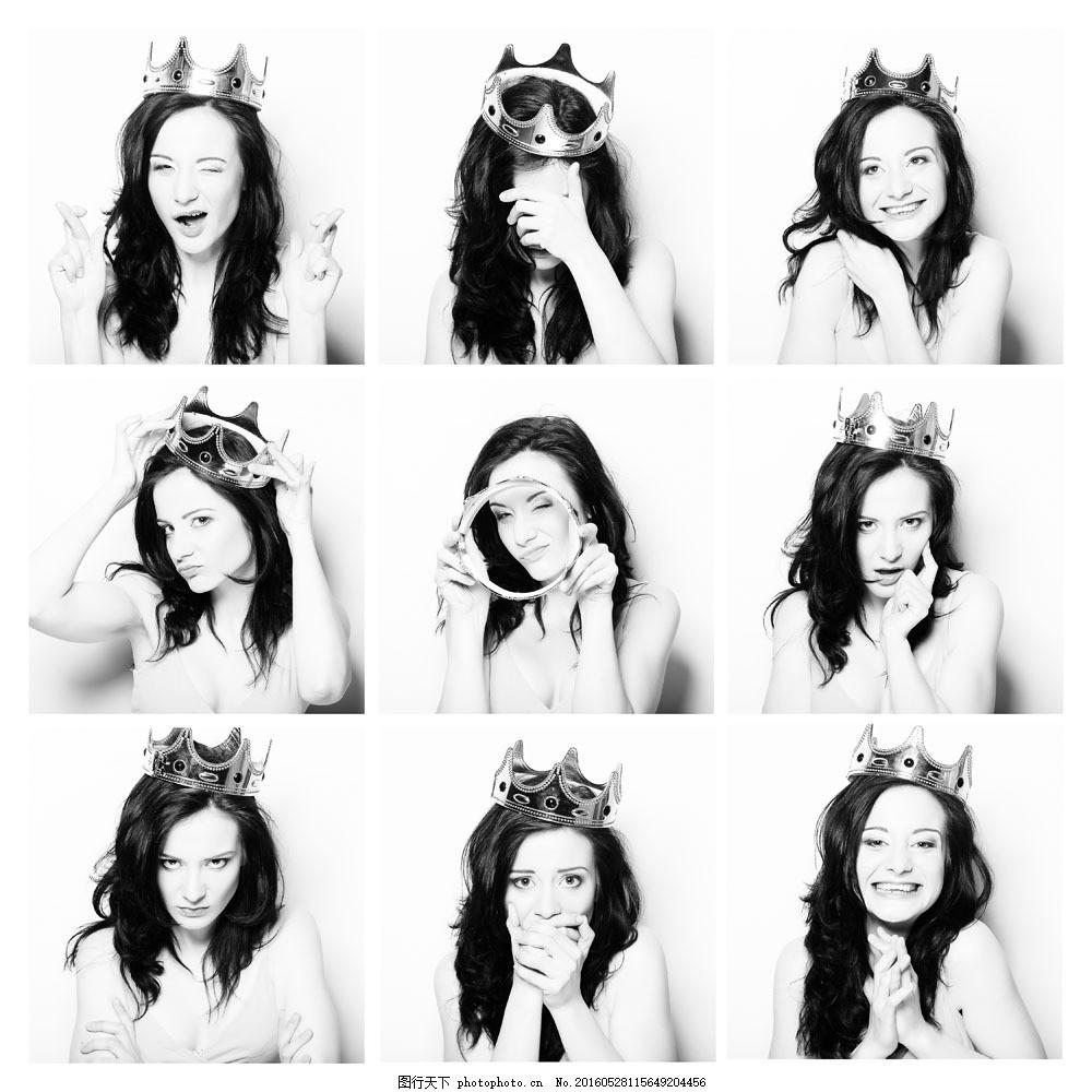 戴王冠的长发美女图片