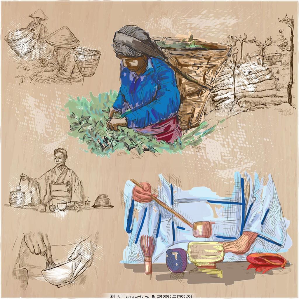 手绘茶叶加工插图图片