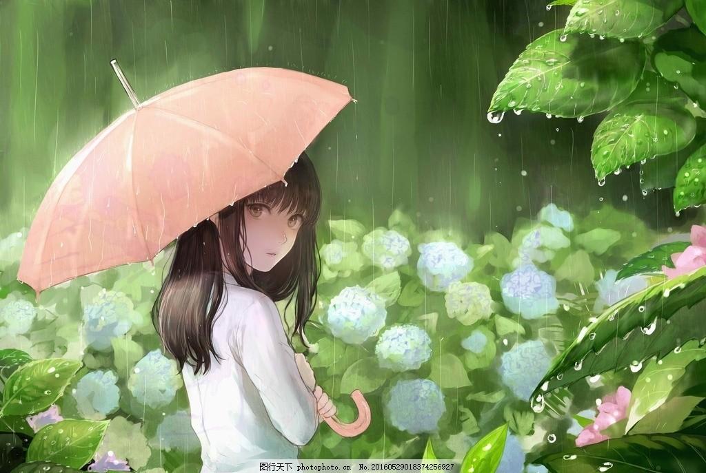 唯美 女孩 雨伞 下雨天 相遇 设计 动漫动画 动漫人物 72dpi jpg