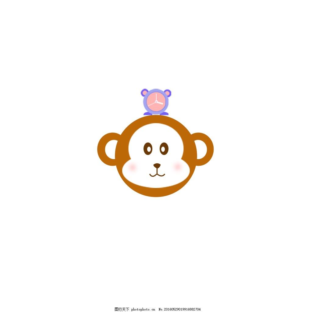 图标 psd 猴子 q版 可爱 白色