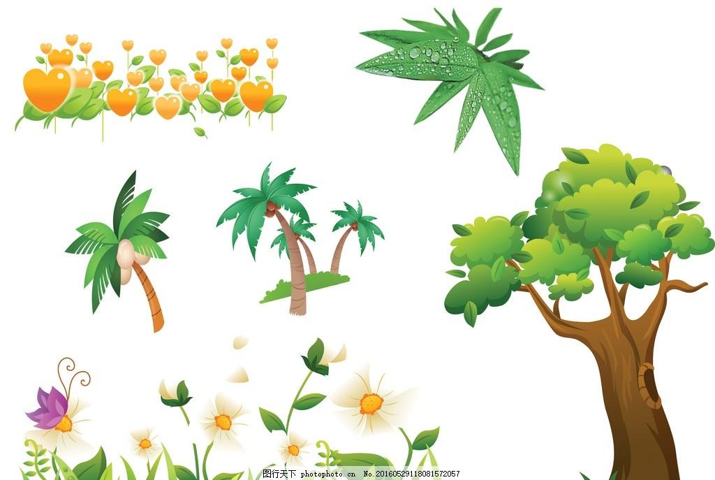 卡通椰子树大树