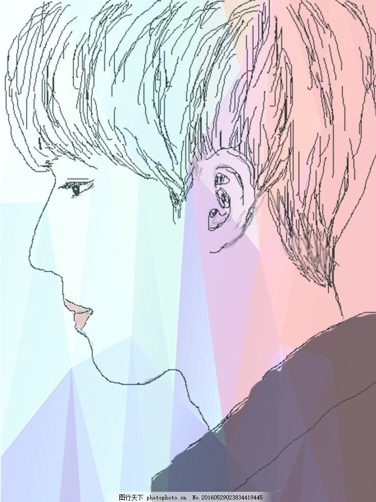 素描 铅笔画 创意 男生 个性 标志 背景 插画 分层 psd 设计 人物图库