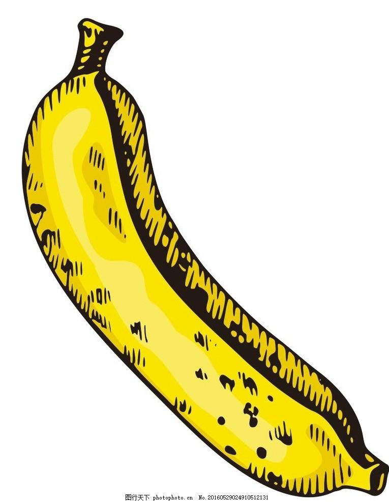 香蕉 彩绘水果 简笔画 线条 线描 简画 黑白画 卡通 手绘 标志图标
