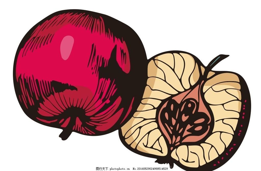 彩绘水果 简笔画 线条 线描 简画 黑白画 卡通 手绘 标志图标 简单