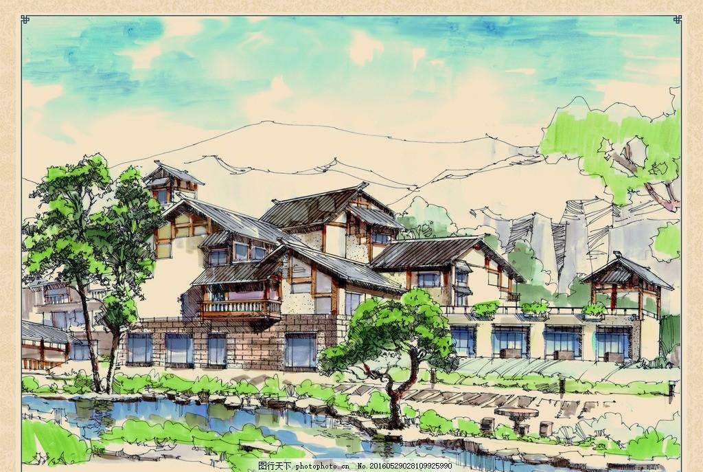 农舍花田的手绘作品