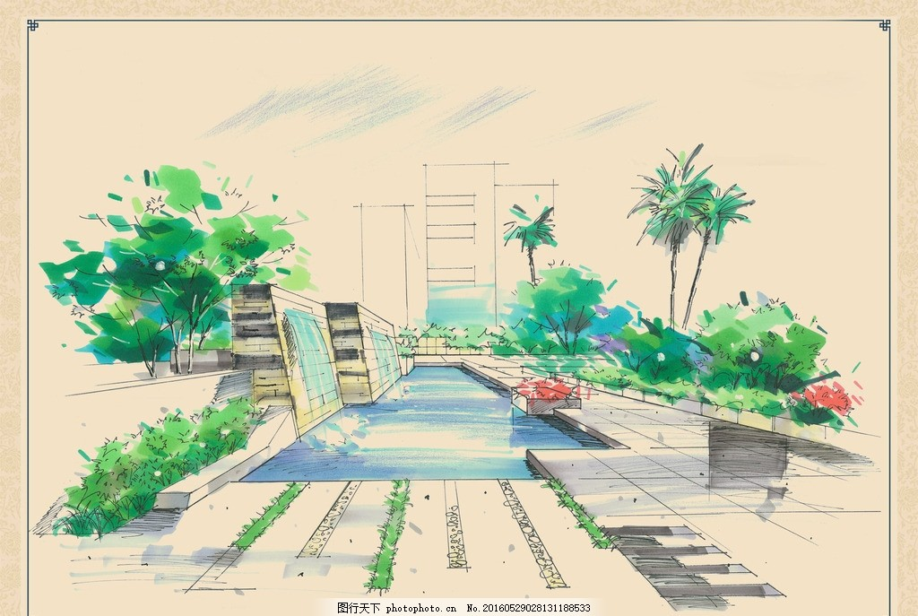 瀑布 水池 步道 地面 铺装 花台 植物 椰子树 树木 素材 手绘建筑景观