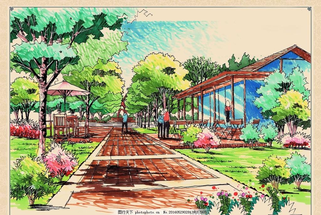 公园景观手绘效果 公园 景观 设计 手绘 效果 遮阳伞 步道 广场 树林