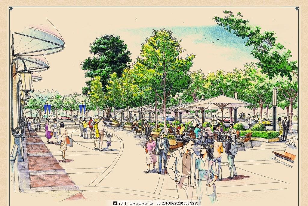 商业广场手绘效果图 广场 手绘 商业 城市 市区 铺装 地板 门面 遮阳