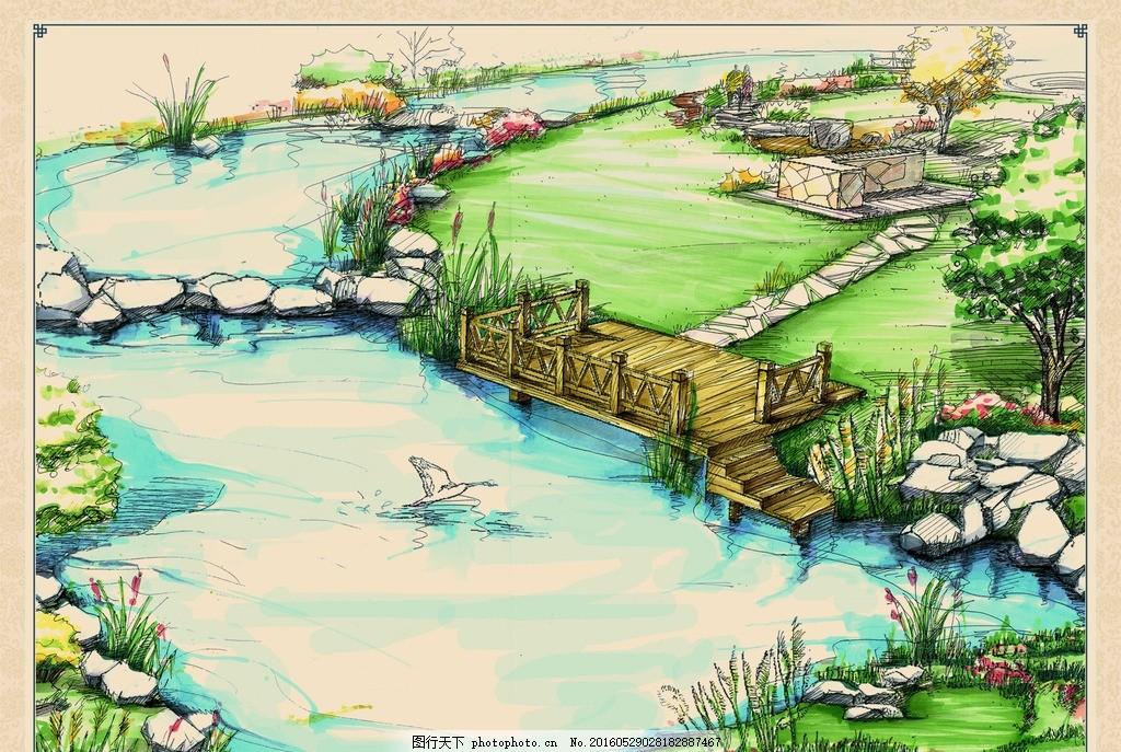 手绘景观效果 景观 手绘 步道 榭台 汀步 天鹅 水池 小溪 流水 石头