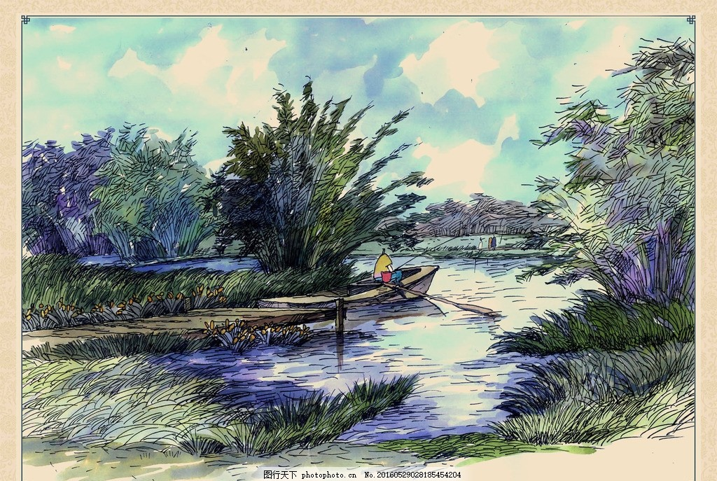 湿地景观手绘 芦苇荡 小船 垂钓 渔民 水池 水塘 船桨 钓鱼