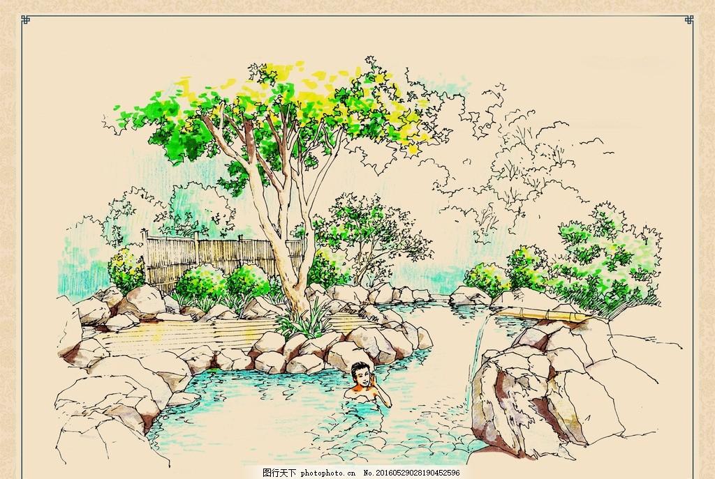 温泉景观手绘效果 温泉 景观 设计 手绘 水池 树木 石头 小溪 流水