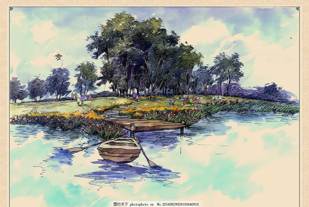 湿地景观手绘 码头 植物 花草 小船 船桨 芦苇荡 树林 鲜花