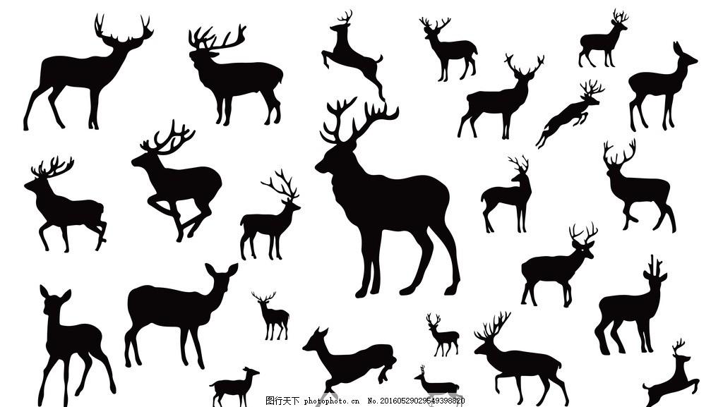 鹿剪影 动物剪影 动物世界 卡通动物 漫画动物 陆地动物 生物世界