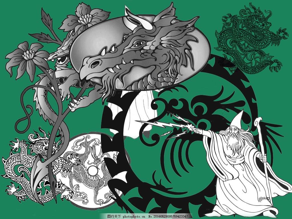 手绘龙图案 手绘插画 矢量插画 插画 万圣节海报 龙 手绘龙
