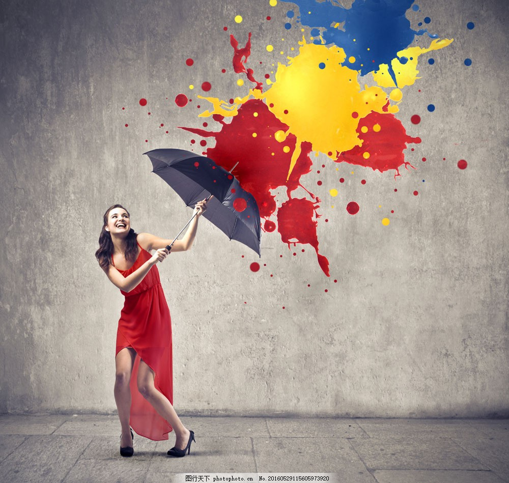 打雨伞的美女图片