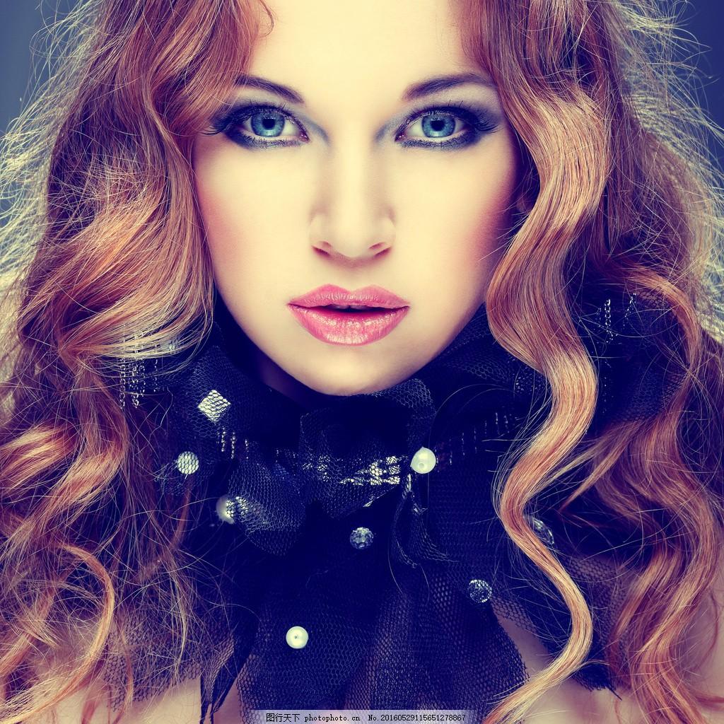 离子烫发型 卷发发型 烫发美女 卷发美女图片