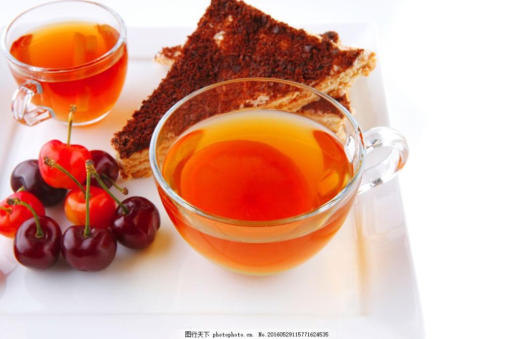 蛋糕水果和花茶图片素材 蛋糕 水果 花茶 樱桃 甜点 生日蛋糕图片