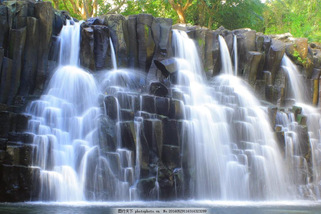 高清瀑布流素材 高清 风景      树 绿化 森林 瀑布 流水
