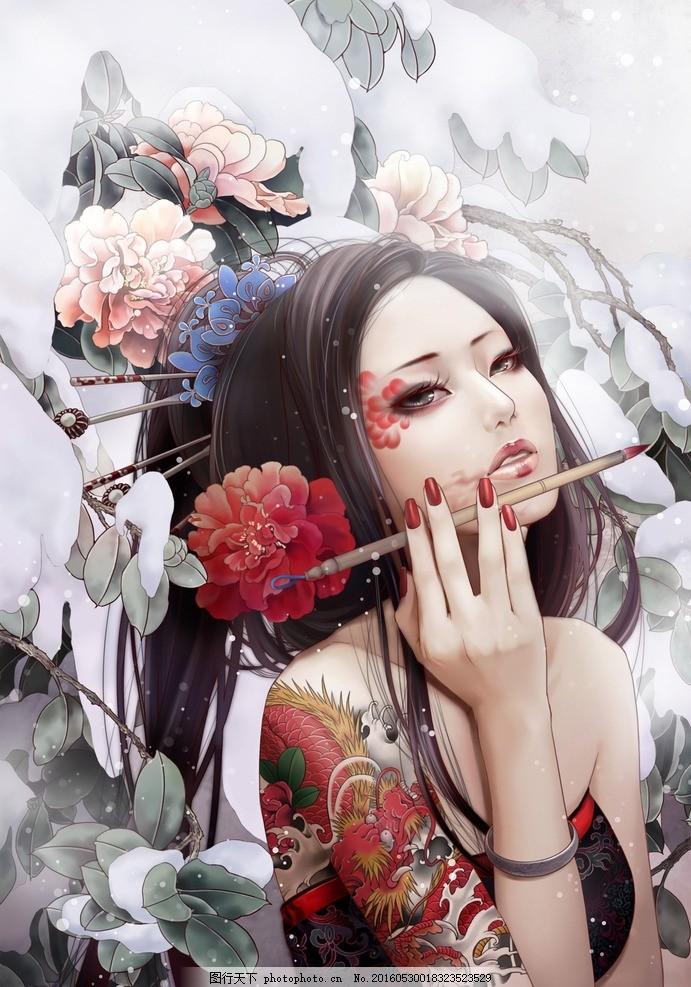 古典美女 古装美女 手绘美女 中国风 中国风展板 中国风模板 中国风