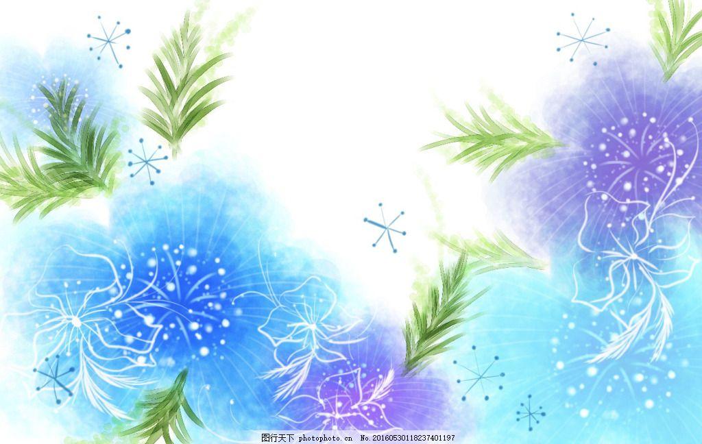 紫色韩式小清新手绘花卉高清背景
