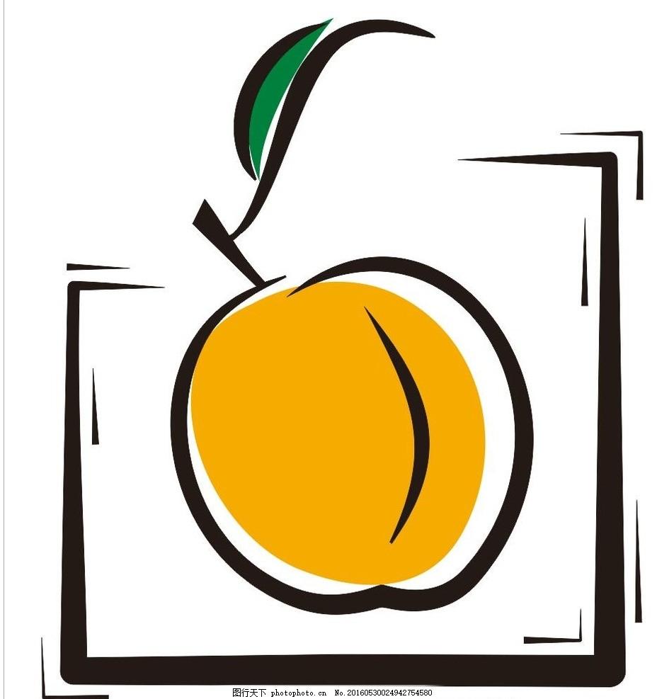 桃子 彩绘水果 简笔画 线条 线描 简画 黑白画 卡通 手绘 标志图标图片