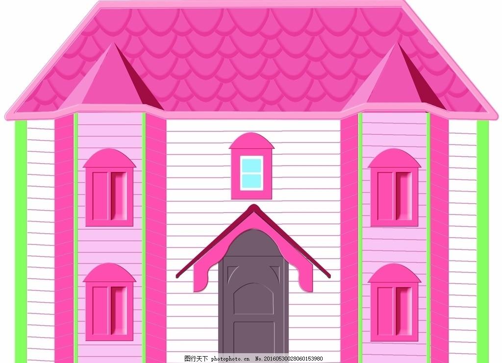 psd素材 手绘矢量图 红色 背景 房子矢量图 楼房 建筑 房屋 小屋 原创