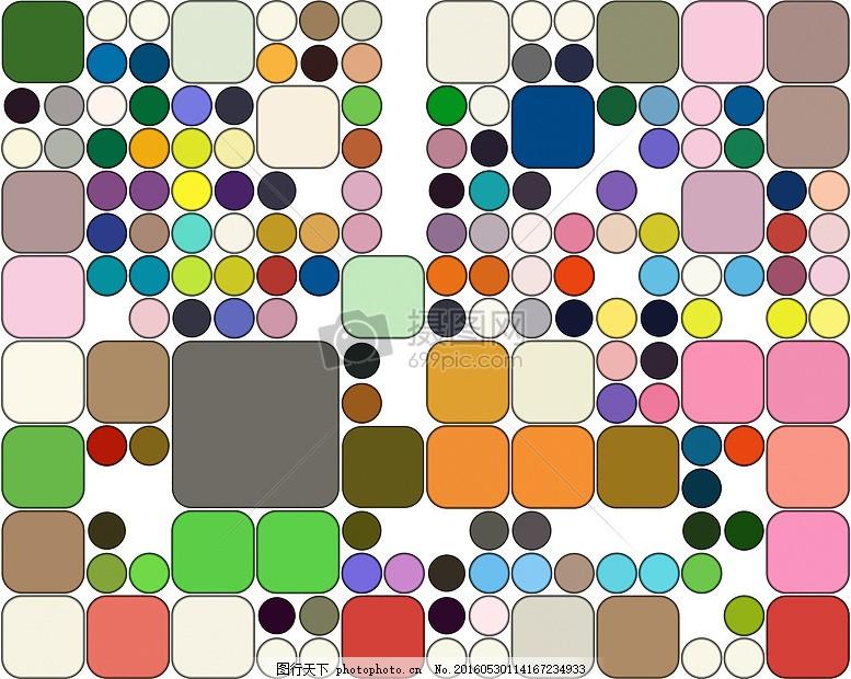 圆形和正方形组成的图案