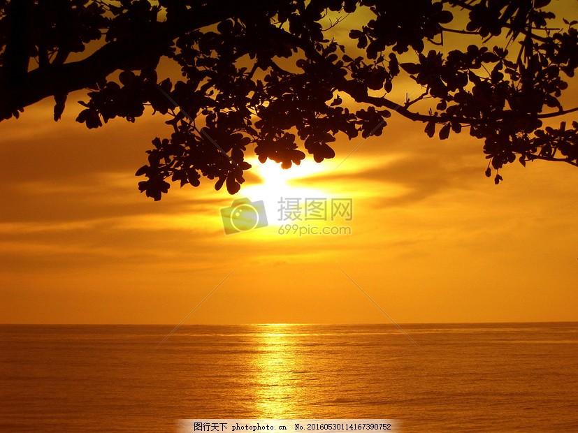 海面夕阳风景 风景 日落 海洋 海滩 海面 夕阳 景色 唯美     红色