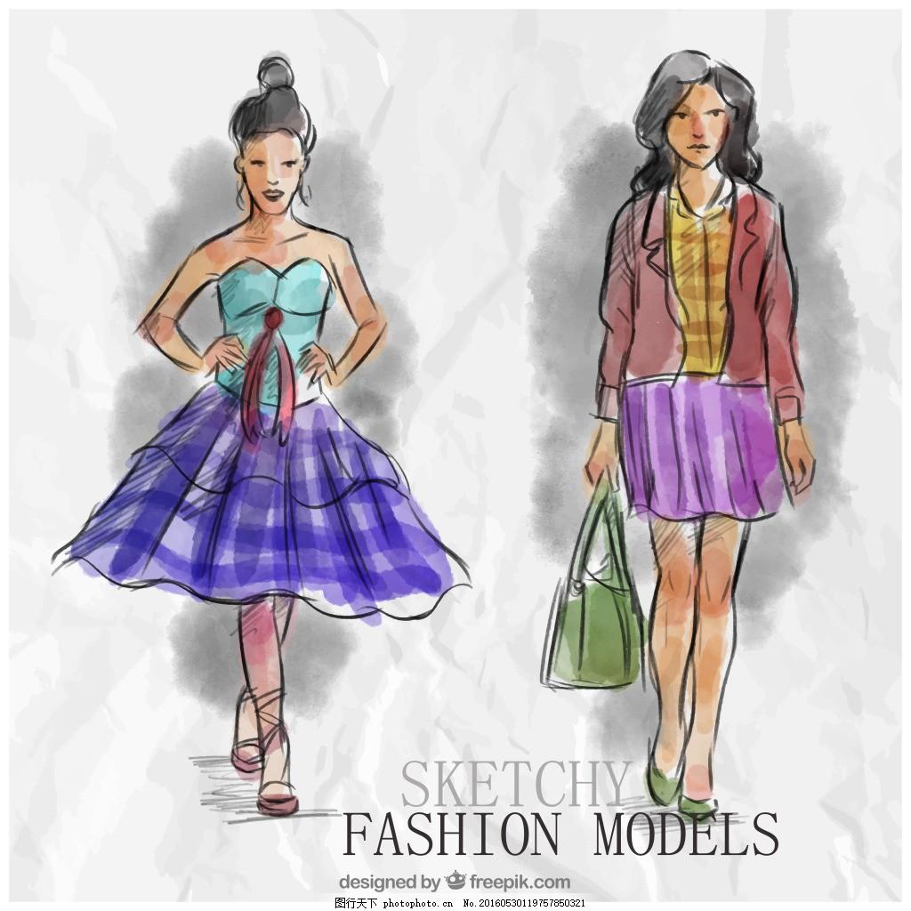 手绘时装模特 人物 手绘 时尚 模特 水彩