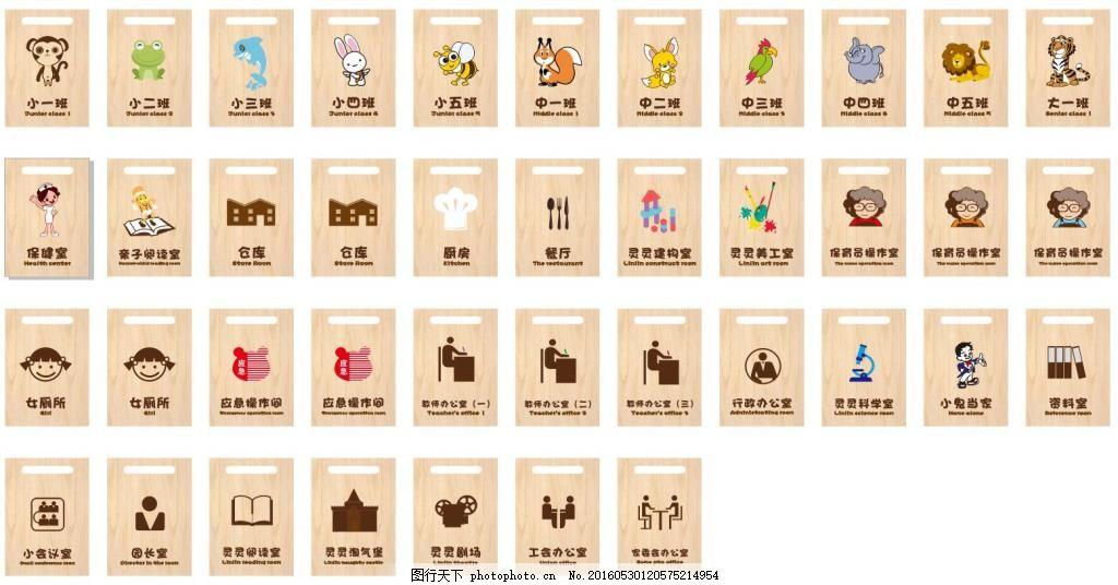 幼儿园门牌 门牌 动物 厕所标识 厕所标志 保健室 仓库 猴子 老虎