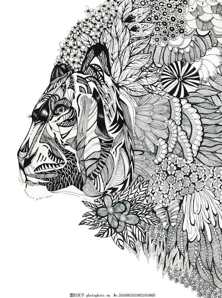 黑白线描插画动物植物手绘